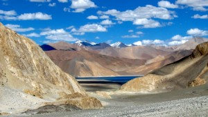 First sight of Pangong Tso