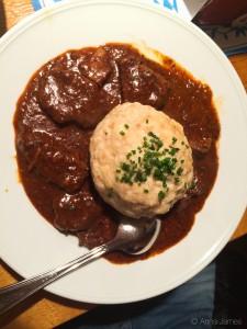 Beef goulash with bread dumpling