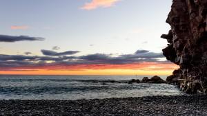 Sunset from Riomaggiore's pebble beach